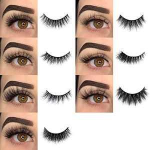 BEPHOLAN Mink Lashes,False Eyelashes,7 Pairs 5D Different Styles Mink Lashes For Makeup,100% Handmade & Cruelty-Free,Soft Thick Lashes Reusable Black Color Fluffy False Eyelashes