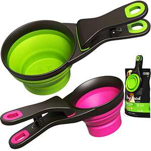 Collapsible Pet Food Scoop Silicone Measuring Cup Bag Clip 2 Pieces Water Snack Travel Bowl for Dogs Cats (1 Cup and 1/2 Cup)