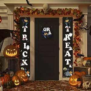 FAHZON Halloween Decorations Outdoor Indoor Banner - Trick OR Treat Porch Sign Hanging Decor Scarecrow Pattern for Front Door Gate Garden Home Party