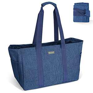 BALEINE Soft Large Utility Tote Bag, Foldable Tote for Storage Laundry Pool, Denim Blue