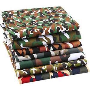 7 Pieces Camouflage Cotton Fabric DIY Squares Fabric Camouflage Print Quilting Fabric Craft Sewing Patchwork for Dressmaking Shirts Clothes DIY Craft (40 x 40 Inch)