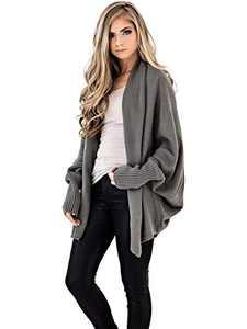 Anna-Kaci Women's Batwing Sleeve Knit Wrap Sweater Oversized Open Front Kimono Cardigan Outwear, Gray