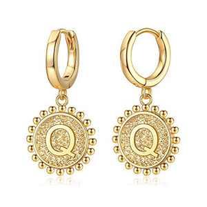 Initial Huggie Hoop Earrings for Women Girls, 925 Sterling Silver Post 14K Gold Plated Letter Q Initial Dangle Hoop Earrings Dainty Cute Hypoallergenic Earrings for Women Girls