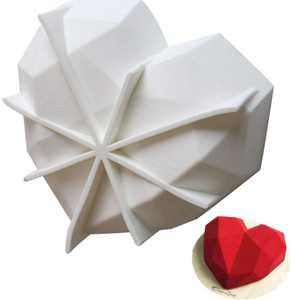 Heart Shape Cake Mold Non-Stick 3D Geometric Diamond Heart Moulds Bake DIY Tool Mousses Cheesecake Chocolate Soap Pudding Cake Dessert (White)