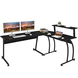 """SMAGREHO L Shaped Gaming Computer Desk 57.8"""" Home Office Corner Desk with Shelf and Storage Bags, Writing Study PC Laptop Workstation with Large Monitor Stand, Space Saving, Easy to Assemble, Black"""
