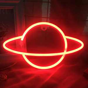 Planet Neon Sign for Wall Decor Red Neon Signs 3AA Battery USB Powered Wall Signs LED Lights Decoration Girls Kids Room Bedroom Wall Décor Child Birthday Gift Party Supplies Business Neon Sign