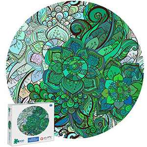 Jigsaw Puzzles 1000 Pieces for Adults, Green Round Puzzles for Adults 1000 Piece Jigsaw Puzzles 1000 Pieces for Adults Kids Large Puzzle Toys Leaf Art