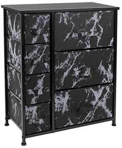 Sorbus Nightstand with 7 Drawers - Bedside Furniture & Accent End Table Chest for Home, Bedroom Accessories, Office, College Dorm, Steel Frame, Wood Top (7-Drawer, Marble Black – Black Frame)