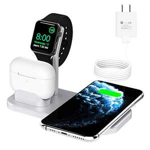 BNCHI Wireless Charger, 3 in 1 Fast Charging Station Compatible with Apple iWatch Series 6/5/4/3/2/1,AirPods,iPhone 11 Series/SE (2020)/XS MAX/XR/XS/X/8/8 Plus(Silver)
