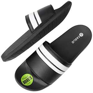 Faslie Men's Athletic Comfort Slide with Arch Support,Open Toe Slip On Non Slip Indoor Outdoor Sandals, Size 8-12
