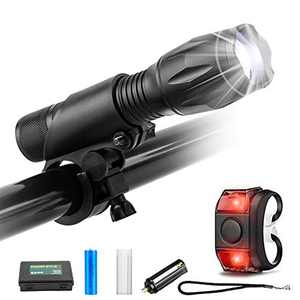 Rechargeable Bike Headlight and Tail Light Set, 800 Lumens Bright Flash Waterproof Handlebar Mount Bicycle Torch Light LED, 5 Modes Zoomable, with Charger