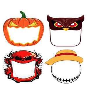 Non-medical Outdoor Kids Christmas Face Shield Glasses Style Clear Visor Transparent Anti-Fog Layer Anti Dust Halloween Face Shields Cover Mask with Band,Cute Reusable Durable./hal 4pcs