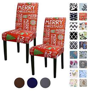 YEESSION Set of 2 Stretch Removable Washable Christmas Decoration Short Dining Chair Covers, Dining Room Chair Protector Seat Slipcover for Home Décor, Hotel (Christmas Red)