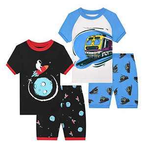 Benaive Pajamas for Boys, Pjs for Boy Cotton Summer Pajama, 4-Piece Children Shorts Set (Space & Train, Multicolor, 5)