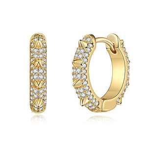 Spike Earrings for Women Huggie Hoop, Hypoallergenic S925 Sterling Silver Post 14K Gold Plated Dainty Spike Huggie Earrings Small CZ Hoop Earrings Jewelry Gifts for Women