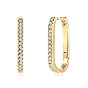 Oval Huggie Hoop Earrings for Women, Hypoallergenic S925 Sterling Silver Post 14K Gold Plated Dainty Oval Huggie Earrings Small CZ Hoop Earrings Jewelry Gifts for Women