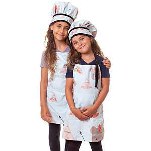 Cooking Baking Set for Children Toy - Indians Kitchen Pretend Play Adjustable Costume - Apron for kids Chef Hat Oven Mitt Dough Roller Pot Holder Cookie Cutters Piping Bags Tips & Couplers
