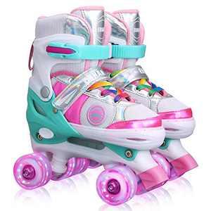 Kids Adjustable Roller Skates for Girls Boys, All 8 Wheels Illuminating. (Pink, Small(12J-2))