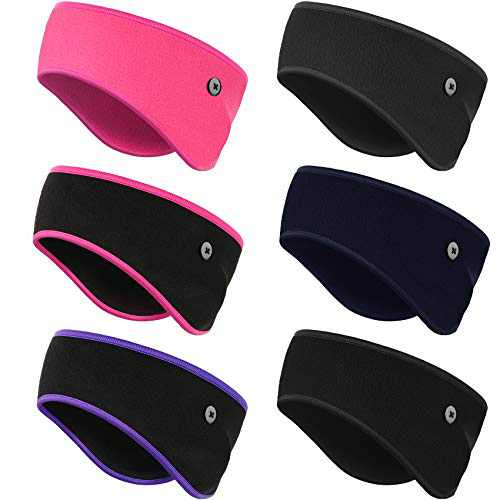 Geyoga 6 Pieces Winter Ear Cover Running Ear Muffs Button Headbands Ear Warmer Ponytail Hairband with Button Fleece Sports Yoga Sweatband Headband Ear Protection Holder for Men Women, Chic Colors