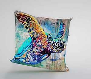 guiguziyishu Sea Turtle Pillow Covers Colorful Retro Marine Theme Cushion Cover for Couch, 1 Pack, 18x18-inch (45cm),Blue-Green