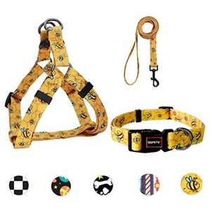 Ebrand Dog Harness, Dog Leash and Dog Collar, Adjustable Step in Small Dog Harness and Puppy Collars, No Pull Dog Leashes, Set for Small Medium Dogs