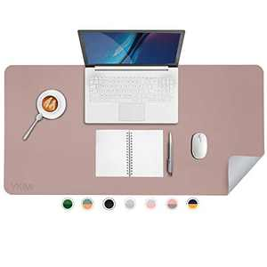 """YKiMi Dual Sided Office Desk Pad,31.5 x 15.7"""" Waterproof Ultra Thin PU Leather Mouse Pad,Desk Blotter Protector,Multifunctional Desk Writing Mat for Office/Home (31.5"""" x 15.7"""", Pink/Bright Silver)"""