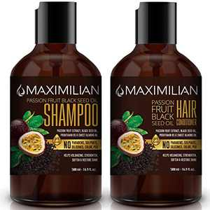 Maximilian Passion Fruit Black Seed Oil Curly Hair Shampoo and Conditioner Set- Extra Volumizing, Smoothing, Moisturizing, Soft and Shine - Sulfate Paraben Silicone Free -(2 x 16.9 Fl Oz / 500mL x 2)