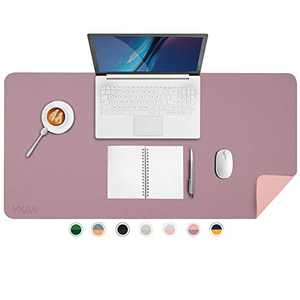 """YKiMi Dual Sided Office Desk Pad,35.4 x 17"""" Waterproof Ultra Thin PU Leather Mouse Pad,Desk Blotter Protector,Multifunctional Desk Writing Mat for Office/Home (35.4"""" x 17"""",Purple/Pink)"""