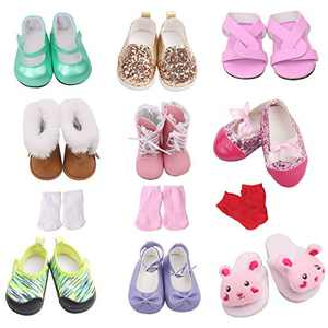 Spofew 12 PCS 18 Inch Dolls Shoes Set, 9 Pairs Shoes and 3 Pairs Socks for 18 Doll Shoes and Accessiories Includes Snow Boots, Leather Shoes, Sandals, Slipper