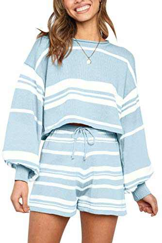 TECREW Women's 2 Piece Outfits Long Sleeve Knit Pullover Sweater Crop Top Shorts Sweatsuit Set with Pockets