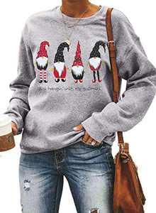 Sidefeel Women Santa Claus Christmas Print Sweatshirt Holiday Graphic Pullover Tops Small Gray-7011