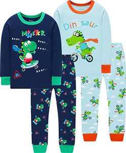 Boys Skating Dinosaurs Pajamas Christmas Children Monster Dino Clothes Long Sleeve Pants Set Size 5