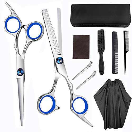 Hair Cutting Scissors Set, 10Pcs Haircut Shears Kit with Cutting Scissors, Thinning Scissors, Hair Razor Comb, Clips, Cape, Hairdressing Shears for Home, Salon, Barber