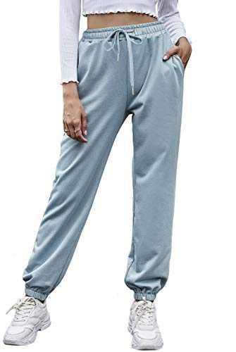 Odosalii Womens 100% Cotton Sweatpants High Waisted Drawstring Joggers Pants Yoga Workout Lounge Pants with Pockets Blue