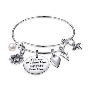 MONOZO Sunflower Bracelet for Women, You are My Sunshine Sunflower Charm Bracelet Stainless Steel Initial Expandable Bangle Bracelet Sunflower Jewelry Gifts for Women Her V