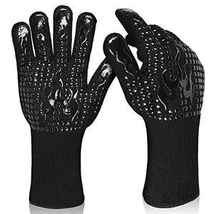 L-LATFF BBQ Gloves Heat Resistant Extreme Gloves Fireproof Cooking Gloves for Grill,Smoker,Barbeque,14 Inch-Black