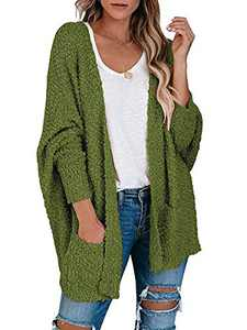 ANRABESS Womens Open Front Fuzzy Cardigan Sweater Batwing Sleeve Loose Knit Popcorn Cloak Outwear with Pockets A230junlv-M