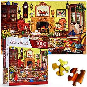 "Puzzles for Adults 1000 Piece, Warm Living Room with Little Dogs Puzzle - Wall Decoration Jigsaw Puzzles 27"" x 20"" - Challenging Game for Boys and Girls (Living Room)"