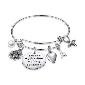 MONOZO Sunflower Bracelet for Women, You are My Sunshine Sunflower Charm Bracelet Stainless Steel Initial Expandable Bangle Bracelet Sunflower Jewelry Gifts for Women Her A