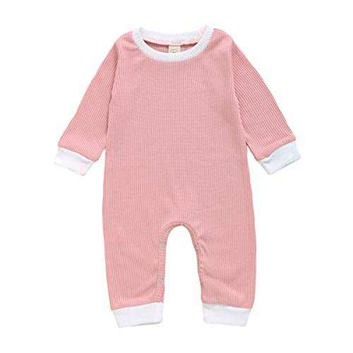 GLIGLITTR Newborn Baby Girl Boy Romper Bodysuit Long Sleeves Button Solid Pajamas One Piece Jumpsuits Outfits Clothes (Pink, 6-9 Months)