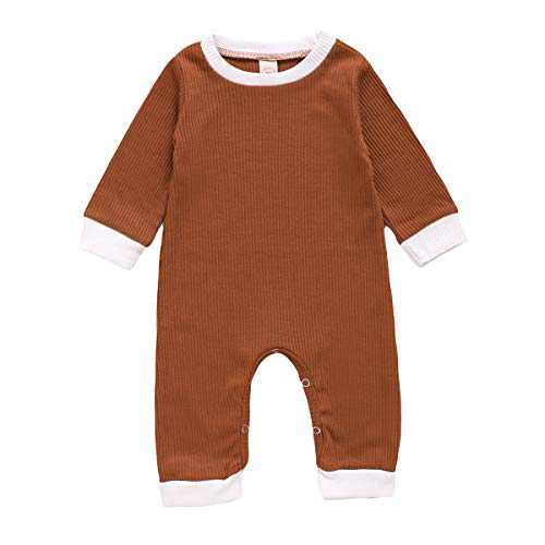 GLIGLITTR Newborn Baby Girl Boy Romper Bodysuit Long Sleeves Button Solid Pajamas One Piece Jumpsuits Outfits Clothes (Grown, 9-12 Months)
