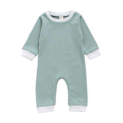 GLIGLITTR Newborn Baby Girl Boy Romper Bodysuit Long Sleeves Button Solid Pajamas One Piece Jumpsuits Outfits Clothes (Light Green, 0-6 Months)