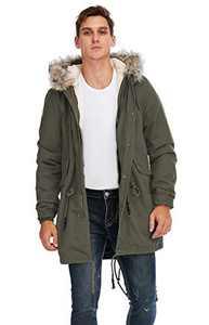 TIENFOOK Men Parka Jacket Winter Coat with Drawstring Waist Thicken Fur Hood Lined Warm Detachable Design Outwear Jacket (B-Army Green, Large)