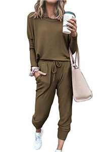 PRETTYGARDEN Women's Casual Two Piece Outfit Long Sleeve Crewneck Pullover Tops And Long Pants Sweatsuits Tracksuits(Dark Khaki,Small)