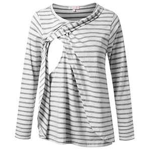 Nursing Blouse Long Sleeve Breastfeeding Shirt Layering Tunic Top White with Gray Stripe XL