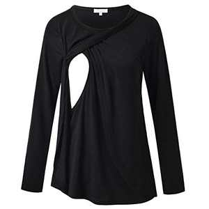 Women's Breastfeeding Shirt Round Neck Nursing Top Long Sleeves Casual Tunics Black S