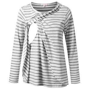 Nursing Blouse Long Sleeve Breastfeeding Shirt Layering Tunic Top White with Gray Stripe S