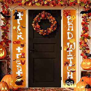 Halloween Decorations Outdoor Trick or Treat & Bad Witches Front Porch Signs For Halloween Home Decor Front Door - Halloween Banners White Orange