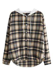 SOLY HUX Women's Long Sleeve Plaid Hoodie Button Down Shirt Blouse Top Multicoloured S