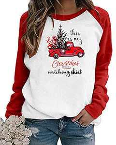 Women's Merry Christmas Shirts This is My Christmas Movie Watching Shirt Plaid Long Sleeve Raglan Baseball Tee Tops